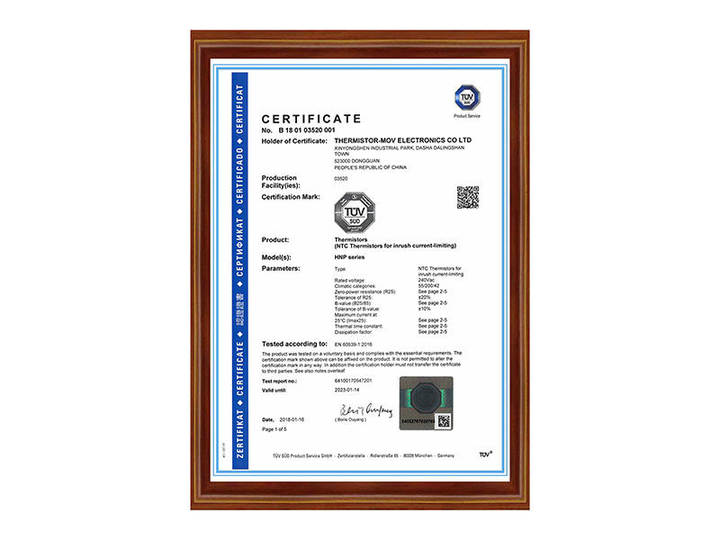 Our NTC thermistor achieves TUV Certification